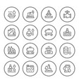 set round line icons of oil industry vector image