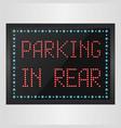 shining retro light banner parking in rear vector image vector image