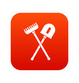shovel and rake icon digital red vector image vector image
