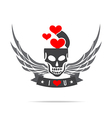 Skeleton skull with wing logo emblem element 002 vector image vector image