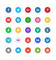 social media circular icons set vector image vector image