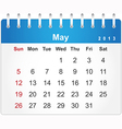 Stylish calendar page for May 2013 vector image vector image