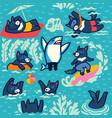 tasmanian devils swim sunbadive play ball vector image
