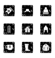 Weather winter icons set grunge style vector image vector image