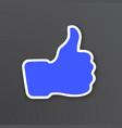 white contour thumb up symbol like vector image