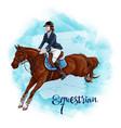 woman horseback riding equestrian sport vector image