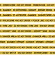 set of crime scene yellow tape police line vector image