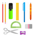 set of school supplies pens pencils scissors and vector image