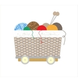 Thread balls of yarn with spokes basket vector image