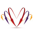 3d set of arrows in the form of heart vector image vector image
