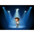 A boy dancing with spotlights vector image vector image