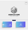 agriculture eco green line art logo template icon vector image