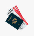 airline tickets and passport vector image vector image