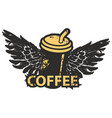 banner with coffee cup straw and wings vector image vector image