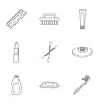 bathroom things icons set outline style vector image vector image