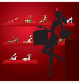 Beautiful woman in shoe shop vector | Price: 1 Credit (USD $1)