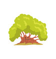 big oak tree with sad face natural element for vector image vector image