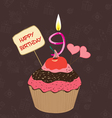 Birthday cupcake with lit candle in shape of vector image