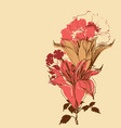 blooming lily flowers vintage bouquet for retro vector image vector image