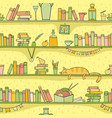 books cat and other things on shelves vector image