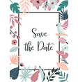 bright invitation with flowers and palm leaves vector image