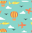 cartoon seamless pattern with planes vector image vector image