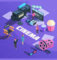 cinema isometric composition vector image