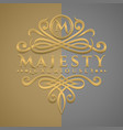 classic luxurious letter m logo with embossed vector image vector image
