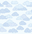 cloud doodle line pattern cloudy sky seamless vector image vector image