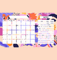 colorful modern template for a month planner vector image vector image