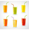 Colorful set of realistic glasses with juice vector image