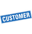 customer blue square grunge stamp on white vector image vector image