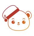cute bear teddy head kawaii character vector image vector image