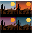 desert cactus silhouette with gradient sunsets vector image