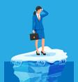 desperate businesswoman floats on iceberg