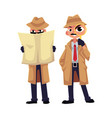 Detective character looking through magnifying