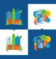 ecological city settlement ecology protection vector image