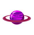 fantastic violet planet icon cartoon style vector image