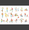 fathers playing with kids set of vector image vector image