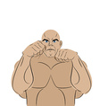 Fighter on a white background A strong man in vector image