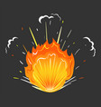 flames and sparkles explosion icon red blaze vector image