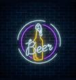 glowing neon beer bar signboard in round frames vector image vector image