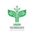 green technology logo design nature leaves vector image