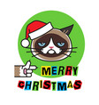 grumpy cat in christmas hat merry christmas vector image