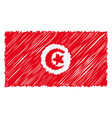 hand drawn national flag of tunisia isolated on a vector image vector image