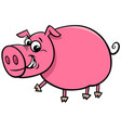 happy comic pig character cartoon vector image vector image