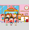 happy kids playing in classroom vector image vector image