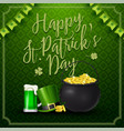 happy st patricks day with beer hat and golden vector image vector image