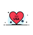 heart love american usa business flat line filled vector image vector image