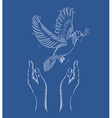 Human hands and peace dove EPS10 file vector image vector image